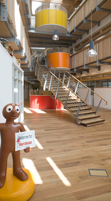 Aardman Animations realised that often the best conversations happen on the stairs, so they deliberately widened them to accommodate impromptu chats and provided places to sit down if things get really involved.