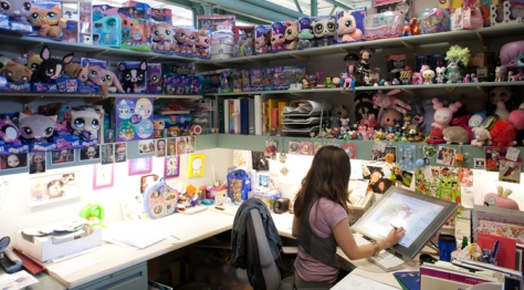 A work cave at Hasbro Inc. allows a toy designer to immerse herself in a world of cute animals and other inspiration.