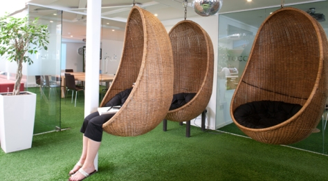 "A hanging basket at Innocent Drinks' ""Fruit Towers"" provides a place to escape and reflect"