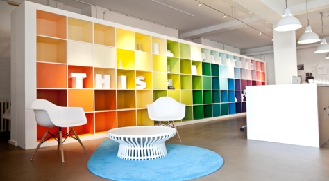 """The """"Wonderwall"""" is a wall with multi-colured cubbies painstakingly painted to exact pantone references by Trifle and some Moo volunteers"""